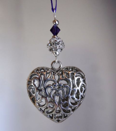 Silver Tibetan Heart, Rhinestone Ball and Dark Purple Crystal - Xmas Tree Decoration